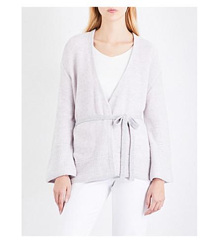 ST JOHN Wrap-front cashmere cardigan (Petal+melange