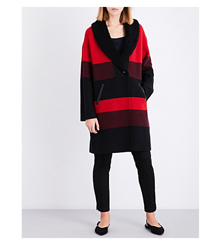 ST JOHN Shearling-collar striped wool-blend coat (Caviar/sari+multi