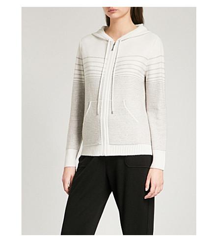 ST JOHN Striped cashmere-blend hoody (Soft+stone