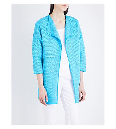 ST JOHN Collarless lattice knitted jacket (Aqua