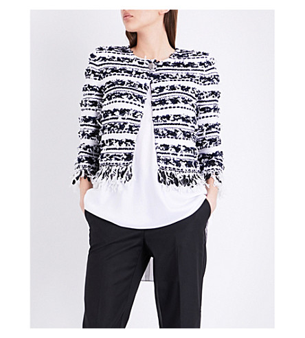 ST JOHN Adel frayed knitted jacket (Bianco+navy
