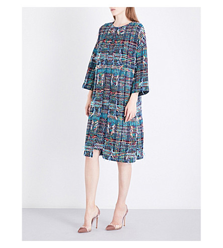 ST JOHN Dara frayed tweed coat (Navy+multi