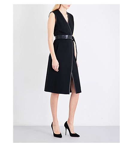 ST JOHN Leather-trimmed wool-blend dress (Caviar