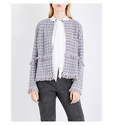 ST JOHN Fringed tweed jacket (Petal multi