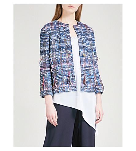 ST JOHN Frayed watercolour tweed jacket (Niagara+multi