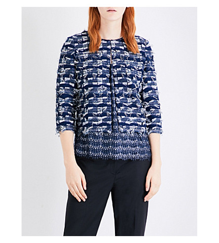 ST JOHN Cropped fil-coupé jacket (Navy+multi