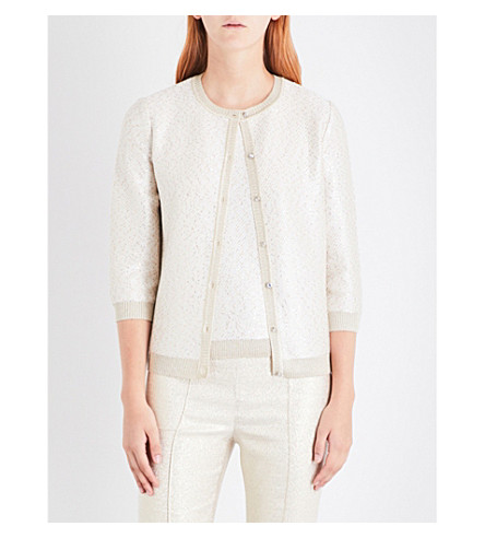 ST JOHN Jewel-detail metallic-knit cardigan (Cream+gold+silver