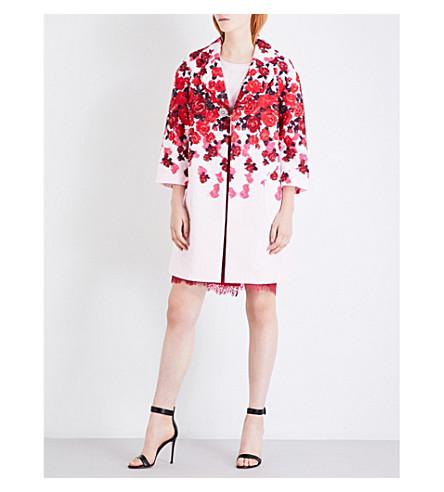 ST JOHN Floral-jacquard coat (Petal+multi