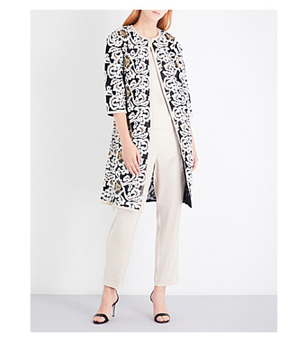 ST JOHN Floral-embroidered coat (Caviar+bianco+gold