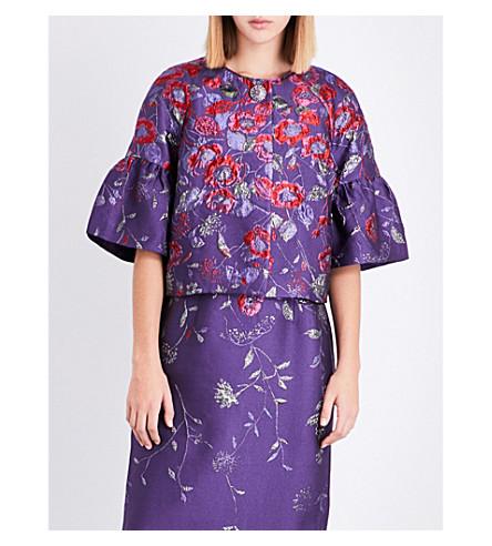ST JOHN Floral-embroidered jacquard jacket (Royal+amethyst+multi
