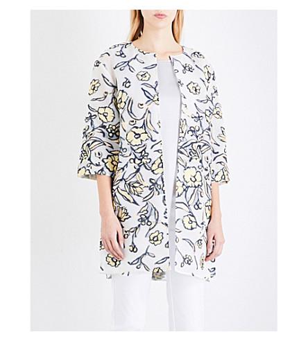 ST JOHN Floral-applique organza coat (Pastel+multi