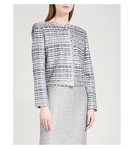 ST JOHN Ribbon-knit metallic-tweed jacket (Gunmetal+multi