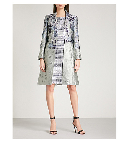ST JOHN Floral-jacquard coat (Pale+green+multi
