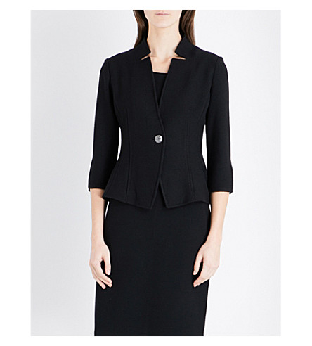ST JOHN Micro Boucle wool-blend jacket (Caviar
