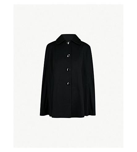 ST JOHN Single-breasted wool-blend cape (Caviar