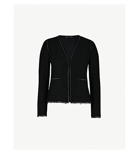 ST JOHN Chain-trim bouclé-knit jacket (Caviar