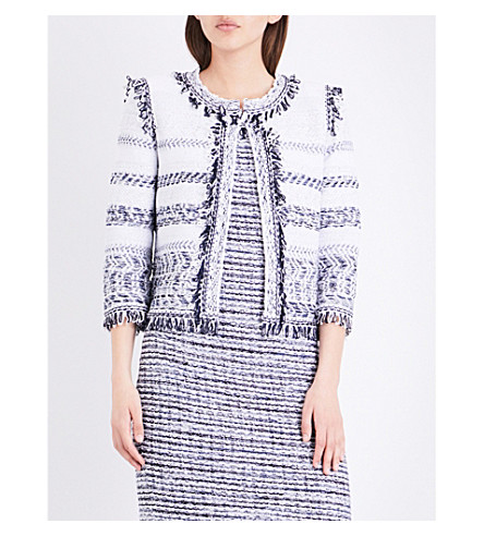 ST JOHN Tajdar fringed tweed jacket (Bianco+navy