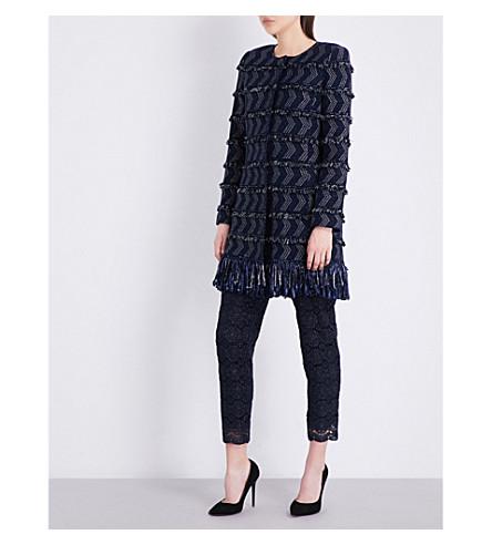 ST JOHN Tara fringed tweed coat (Navy+multi