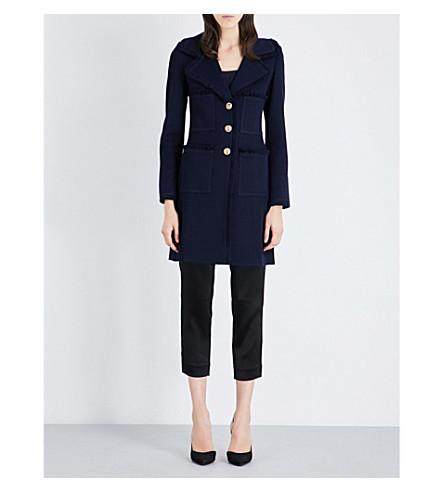 ST JOHN Tweed Coat (Navy