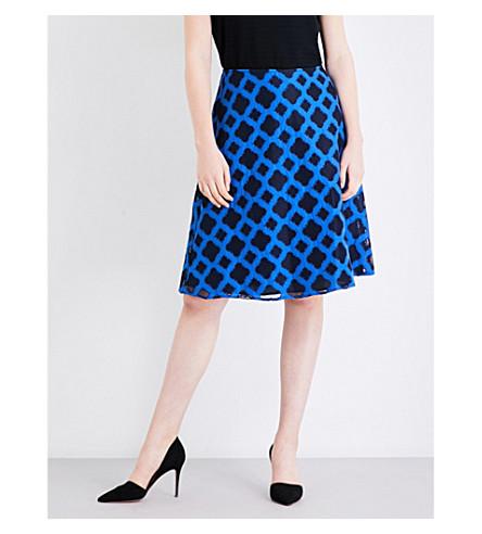 ST JOHN Geometric embroidered skirt (Navy+multi