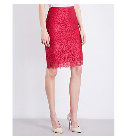ST JOHN Scalloped paisley-lace pencil skirt (Dark+indian+rose