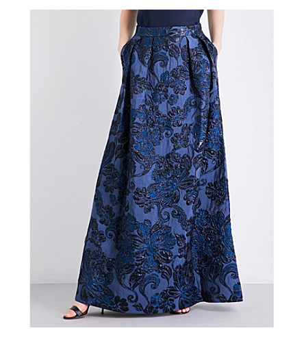 ST JOHN High-rise A-line floral brocade skirt (Blue+multi