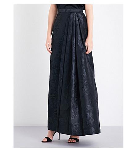 ST JOHN Avani rose-brocade skirt (Caviar