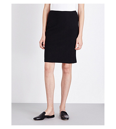 ST JOHN Fitted wool-blend pencil skirt (Caviar