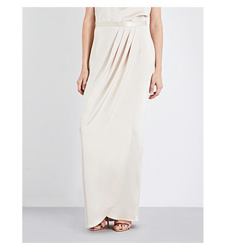 ST JOHN High-rise satin skirt (Champagne