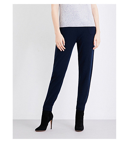 ST JOHN Skinny high-rise cashmere jogging bottoms (Navy