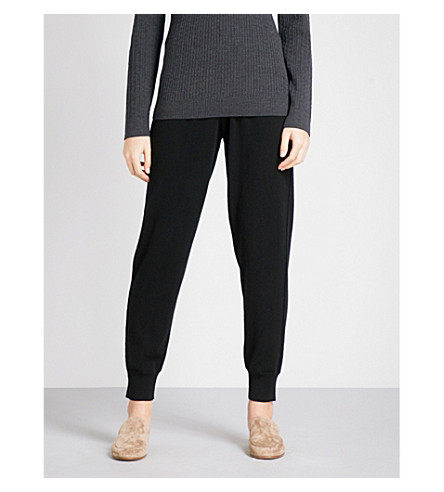 ST JOHN Tapered mid-rise cashmere jogging bottoms (Caviar