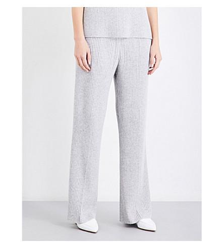 ST JOHN High-rise flared cashmere trousers (Light+grey+melange