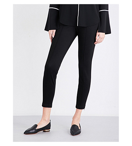 ST JOHN High-rise cropped twill trousers (Caviar