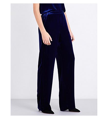 ST JOHN Wide-leg velvet trousers (Lazuli