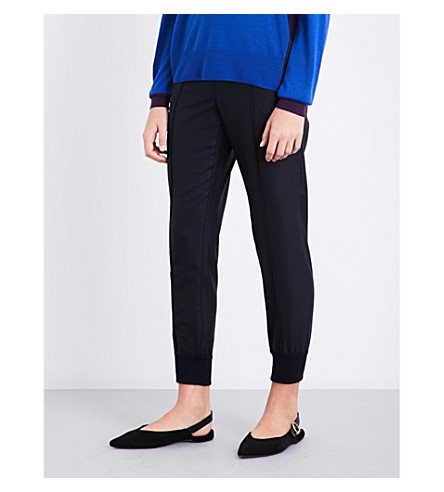 ST JOHN Cuffed wool-blend trousers (Navy