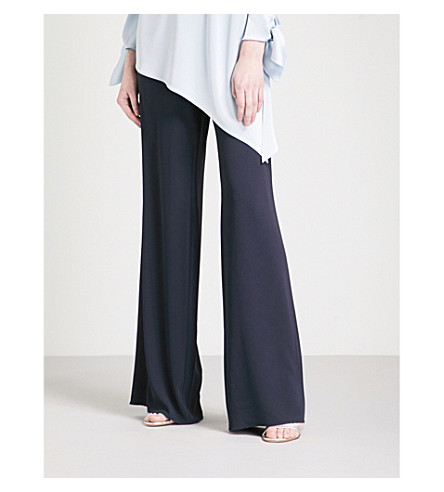 ST JOHN Wide mid-rise crepe trousers (Navy