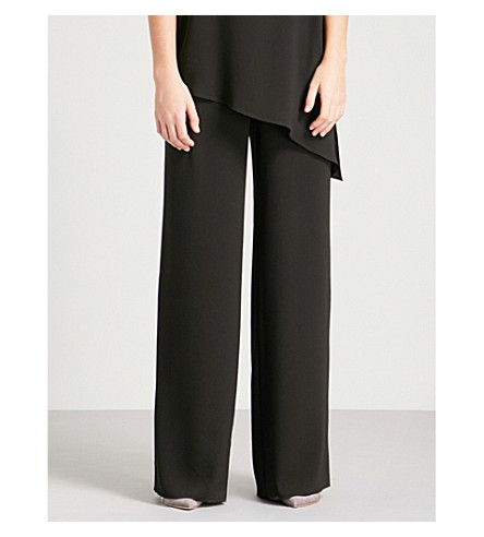 ST JOHN Straight mid-rise crepe trousers (Pale+blush