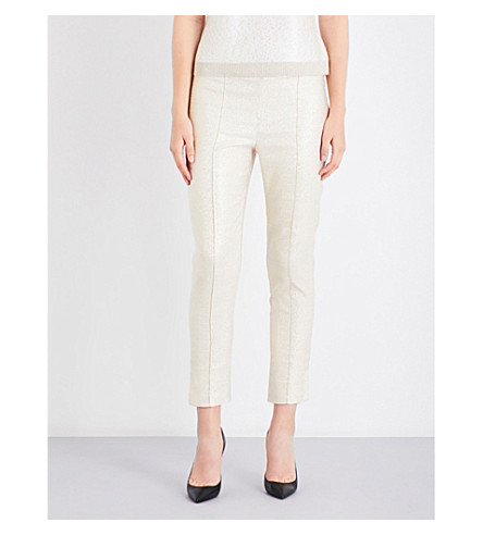 ST JOHN Tapered cropped lamé trousers (Bianco+gold