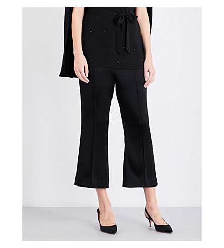 ST JOHN Flared cropped satin trousers (Caviar