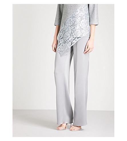 ST JOHN Wide-leg high-rise satin trousers (Grey