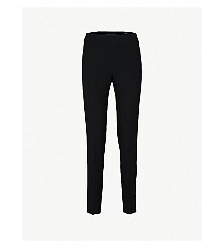ST JOHN Bella skinny mid-rise woven trousers (Caviar