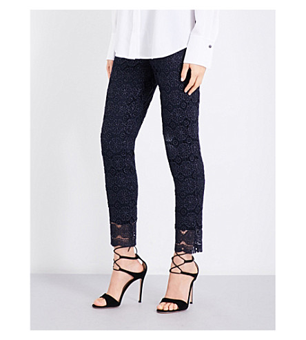 ST JOHN Skinny metallic floral-lace trousers (Navy