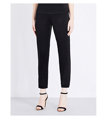 ST JOHN Tapered satin trousers (Caviar