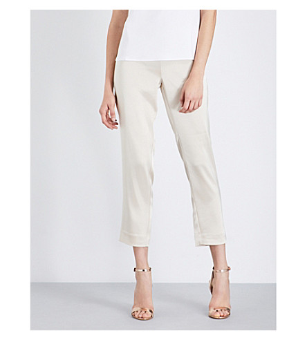 ST JOHN Tapered satin trousers (Champagne
