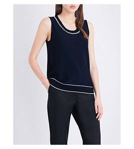 ST JOHN Birdseye embellished knitted top (Navy+bianco