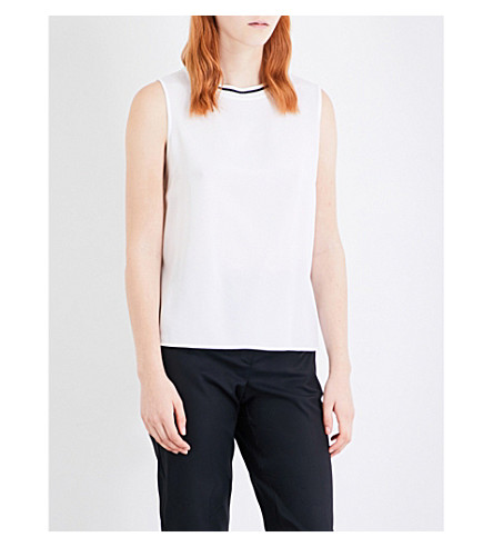 ST JOHN Metallic-detail sleeveless knitted top (Bianco+caviar
