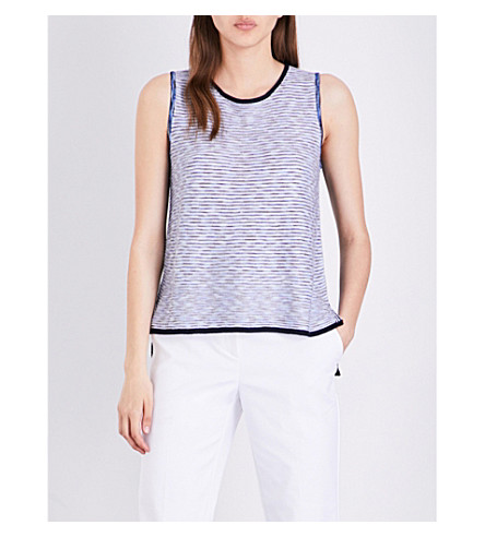 ST JOHN Chambray knitted top (Bianco+navy+multi