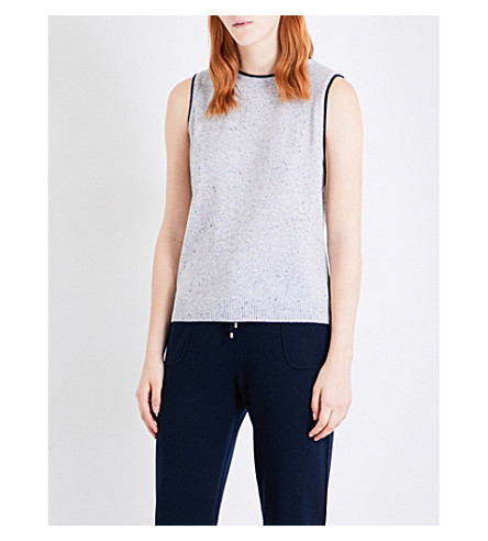 ST JOHN Dot-detail knitted cashmere top (Mica+navy