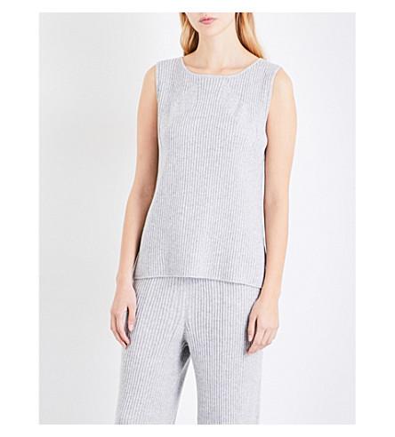 ST JOHN Sleeveless diagonal-stitched cashmere top (Light+grey+melange