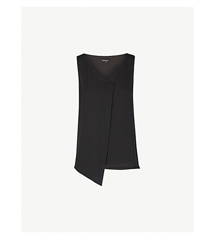 ST JOHN V-neck sleeveless silk top (Caviar